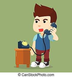 garçon, téléphone, conversation