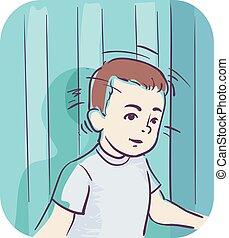 garçon, tête, frapper, illustration, symptôme, gosse