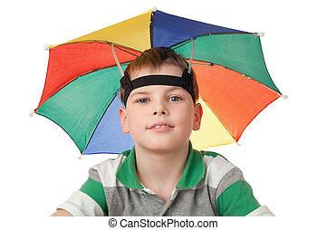 garçon, tête, parapluie, multi-coloré, isolé, fond, blanc