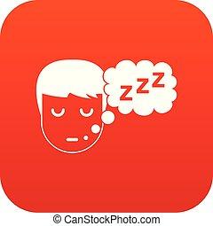 garçon, tête, parole, numérique, bulle, rouges, icône