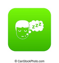 garçon, tête, parole, numérique, vert, bulle, icône