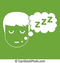 garçon, tête, parole, vert, bulle, icône