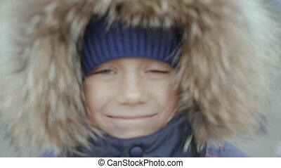 garçon, tête, sien, jaquette hivernale, portrait, capuchon