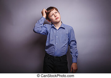 garçon, tête, sien, pensée, adolescent, grattement