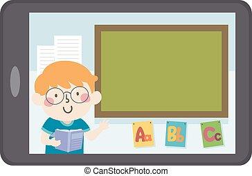 garçon, tableau noir, gosse, illustration, enseigner, tablette