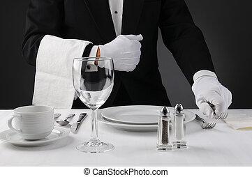 garçon, tafel, diner het plaatsen, formeel