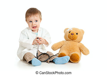 garçon, teddy, sur, docteur, ours, blanc, adorable, vêtements