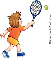 garçon, tennis, jeune, jouer, fond, blanc, dessin animé