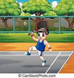 garçon, tennis, jouer, cours, heureux