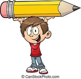 garçon, tenue, crayon, énorme