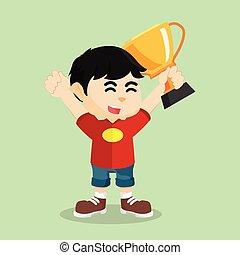 garçon, tenue, gagner, trophée, illustration