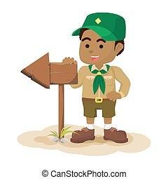 garçon, tenue, signe, scout, flèche, africaine