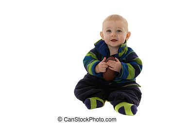 garçon, tient, football, quoique, bébé, sourire heureux