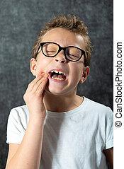 garçon, toothache., a, expression, portrait