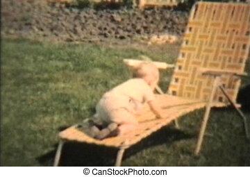 garçon, tuyau, jeux, jardin, (1963)