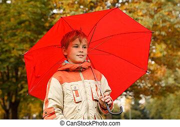 garçon, umbrella., grand, format., automne, park., portrait, horizontal, rouges