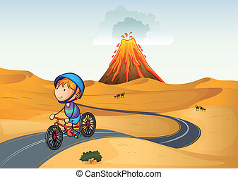 garçon, vélo, désert, équitation