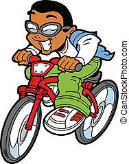 garçon, vélo, heureux, équitation