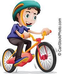 garçon, vélo, jeune, équitation