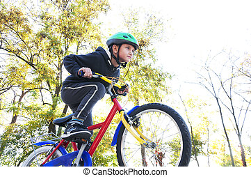 garçon, vélo, parc, équitation