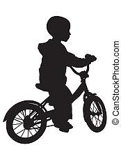 garçon, vélo, silhouette