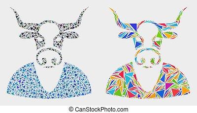 garçon, vache, vecteur, triangles, mosaïque, icône