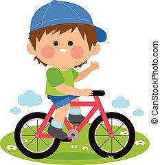 garçon, vecteur, équitation, illustration, bicycle.