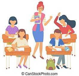 garçon, vecteur, gens, girl, classe, élèves