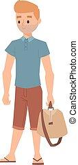 garçon, vecteur, hipster, illustration.