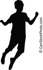 garçon, vecteur, sauter, silhouette