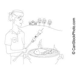 garçon, viande, barbecuing