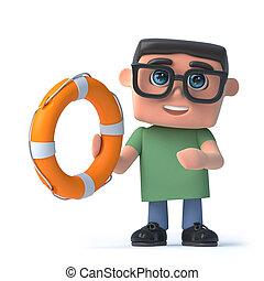garçon, vie, tient, anneau, 3d lunettes