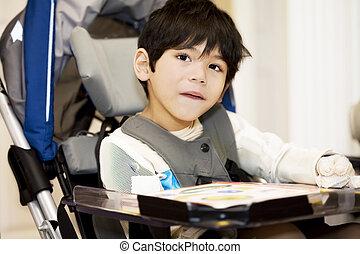 garçon, vieux, étudier, fauteuil roulant, quatre, handicapé...