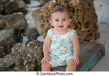 garçon, vieux, une, année, bébé, plage