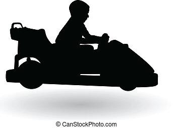garçon, voiture, conduite, électrique