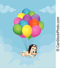 garçon, voler, illustration, bébé, ballons, dessin animé, tas
