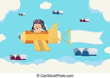garçon, voler, livres, avion, crayon