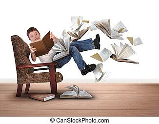garçon, voler, livres, chaise, lecture, blanc