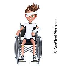 garçon, wheelchair., séance, rendre, dessin animé, 3d