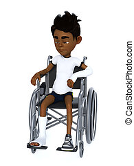 garçon, wheelchair., séance, rendre, noir, dessin animé, 3d
