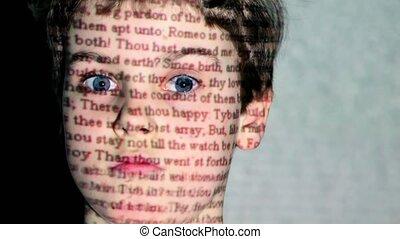 garçon, yeux, projection, large, w., romeo, mouvement, texte, shakespeare, figure, ouvert, juliet