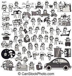 garçonete, retro, conceitos, vetorial, ilustrações, -, jogo, caricatura