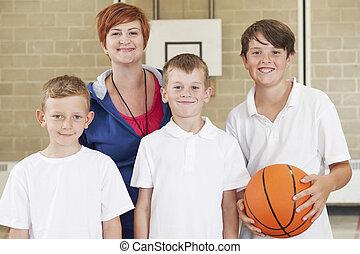 garçons, école, basket-ball, prof, équipe
