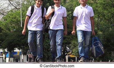 garçons, école, marche