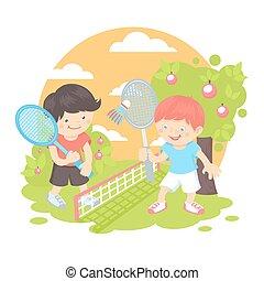 garçons, badminton, jouer