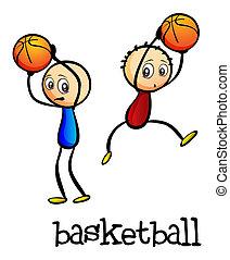 garçons, basket-ball, deux, jouer