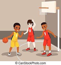 garçons, basket-ball, jouer