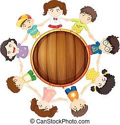 garçons, cercle, filles, autour de