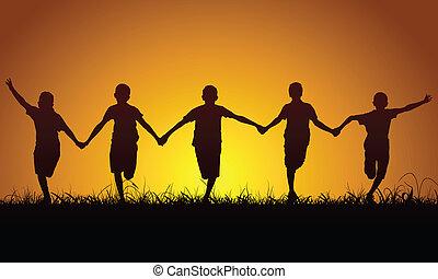 garçons, courant, coucher soleil, heureux