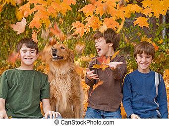 garçons, dans, les, feuilles autome